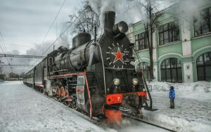 steam locomotive and children by fly10