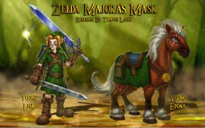 Zelda Majora's Mask redesign: Link and Epona by RavenseyeTravisLacey