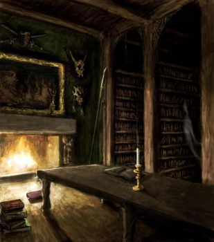 Haunted Library by NicDeGrootArt