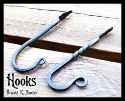 Handforged Sword Hooks by crazed-fangirl