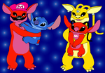 Stitch, Lilo, Mario and Peach as alien experiments by SunsetMajka626