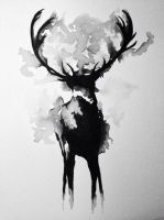 Deer WaterColor by SkydipProductions