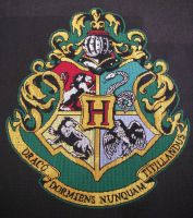 Hogwarts Crest cross-stitch V by White-Freedom