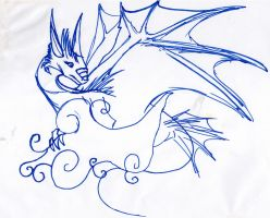 unfinished sharpie dragon sketch 2 by Connectionpoint