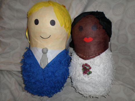 Bride and groom russian doll wedding pinata by the-pinata-pimp