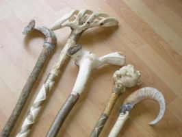 A variety of walking sticks by hammer-and-chisel