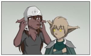 Trying on the Helmet by Twokinds