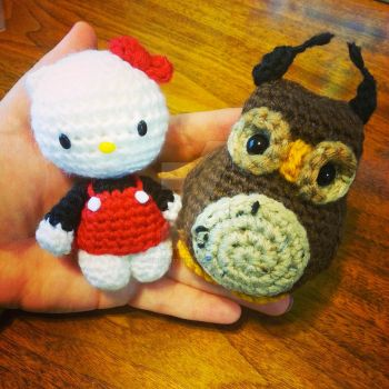 Hello Kity and Owl Amigurumi order by Spudsstitches