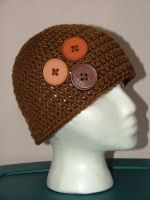 Brown Button Hat by AiChibiAi