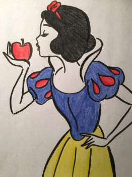 Snow White Line Drawing  by julietcapulet432