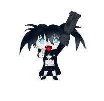 Black Rock Shooter Chibi Lineart Colord by FEARprototype