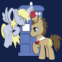Derpy and Doctor Whooves Shadowbox Mock-up by The-Paper-Pony
