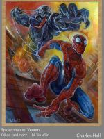 spider-man versus Venom by charles-hall