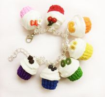 polymer clay fruity rainbow bracelet by ScrumptiousDoodle