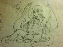Lucifer and Keira, his mother by AbominalSnowDemon