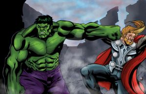 Hulk Punch Thor by mike-mcgee