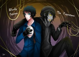 Bloody Painter with The Puppeteer by DeluCat