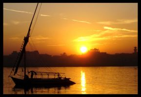 boat on the Nile by kiwik87