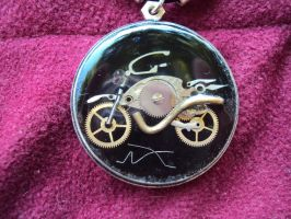 Steampunk bike necklace by metalmorphoses