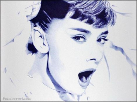 Ballpoint Pen Drawing - Audrey by poletaevart