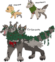 Fakemon - Chloropup, Hounthesis, and Cerbereath by mute-owl
