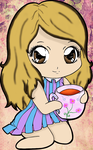 Myriam drinking tea by kimimakio231