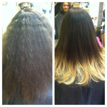 Blonde tips/ombre hair before and after by hiimgaymolly