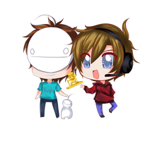 Pewdiepie and Cry (couple chibi) by CattyMaddie