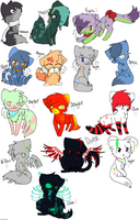 All my adopted characters by Mademoiselle-Squeaky