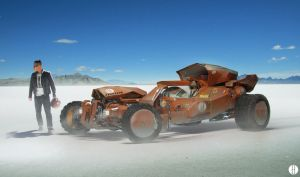 Hotrod On Salt Flats by bradwright