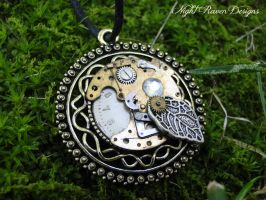 Filigree Circle Steampunk Pendant by HouseOfAlletz