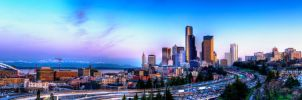 I5 Through Downtown Seattle Panorama by UrbanRural-Photo