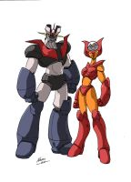 Mazinger Z and Aphrodite A by NachoMon