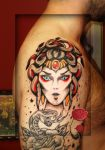 medusa traditional tattoo.. by loop1974