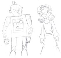 Lady singing with a Robot by VioletAnne9