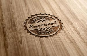 Lasercut / Engraved Wood Logo Mock-Up by nexion218