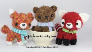 Fox, Bear and Red Panda Teacup Pets Amigurumi by Npantz22