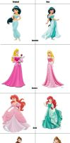 Original Vs. New Disney Princesses by CreamyRabbit