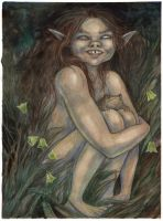 Faerie Child with Toad by liselotte-eriksson