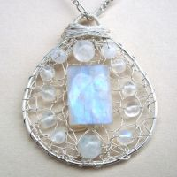 Pendant - Moonstone in Silver by RavenBaubles