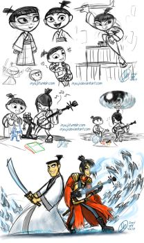 Samurai Jack and Kubo Doodles by InYuJi