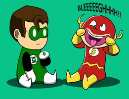 Green Lantern/Flash Chibis by CaptainAki13