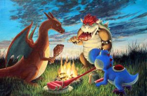 Reptilian Creatures by a Bonfire by YYHyasha