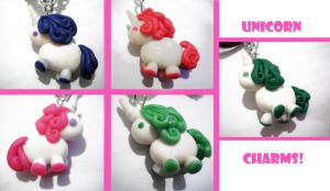 Unicorn charms by FelineArtisan
