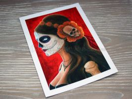 5x7 print of Senora De Los Muertos by little-lina