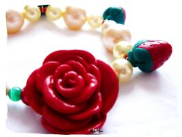 Red Rose Strawberry Bracelet by Cateaclysmic