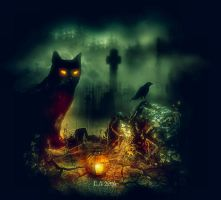 the black cat by L-A-Addams-Art