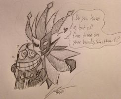 Fawful x Dimentio: Carress by Katkalis