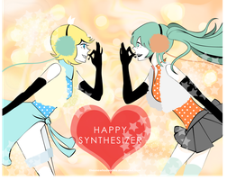 Happy Synthesizer Miku Rin by theonewhodoodles
