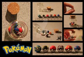 Polymer Clay Pokeball Jar by MaCherz